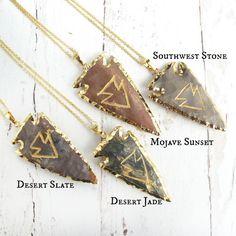 Southwest Jewelry-Tribal Arrowhead Necklace-Festival Jewelry-24K Gold Plated Jasper Arrowhead-Long Layering Necklace-Desert Jewelry $29.99