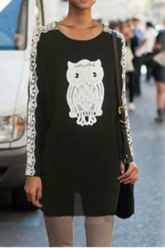 Owl lace long-sleeved dress
