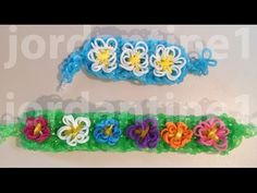 Rainbow Loom SPRING FLOWER Bracelet (Advanced). Designed and loomed by jordantine1. Click photo for YouTube tutorial. 03/07/14