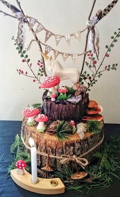 Woodland Naming Day Cake  on Cake Central