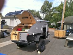 compact trailer for competition, built in wash station and sleeping