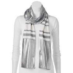 Juicy Couture Metallic Striped Oblong Scarf