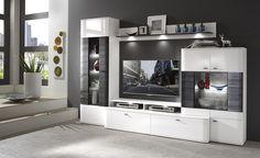 Obývačka Decodom: DALLAS prevedenie: Biela - Biela VL / Black [Living room Furniture: DALLAS colour: White - White HG / Black]