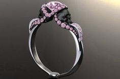 Show details for 'Aphrodite' 3.25ct Pink Diamond Skull White Gold Engagement Ring