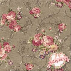 """Mary Rose Grace 2140-13E by Quilt Gate Fabrics: Mary Rose Grace is a collection from Quilt Gate Fabrics.  100% cotton.  43""""/44"""" wide.  This fabric features pink rose bouquets with scrolls on a textured cocoa background."""