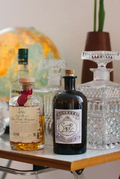 There's a mini bar with some of our favorite drinks: Gin from Monkey 47.