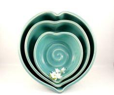 Three Romantic Blue Ceramic Nesting Heart Serving Bowls by BlueSkyPotteryCO, $75.00