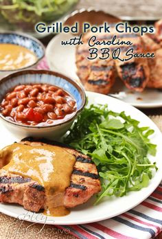 Grilled Pork Chops with Carolina BBQ Sauce ~ ASpicyPerspective.com