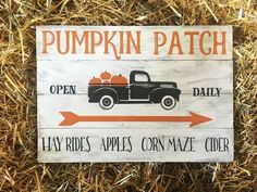 Cute idea for red truck sign Fall Wood Signs, Rustic Signs, Fall Signs, Fall Pallet Signs, Halloween Signs, Fall Halloween, Painted Wood Signs, Hand Painted, Wooden Signs