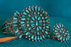 Vintage Zuni Petite Point Turquoise Bracelet and Ring Set...Silversmith Unknown...Circa 1930's - 1950's