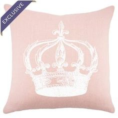 """Burlap pillow with a crown motif. Handmade in the USA.  Product: PillowConstruction Material: Burlap cover and fiber fillColor: Pink and whiteFeatures:  Handmade by TheWatsonShopZippered closureMade in the USA exclusively for Joss & Main Insert includedDimensions: 16"""" x 16"""" Cleaning and Care: Spot clean, do not iron"""