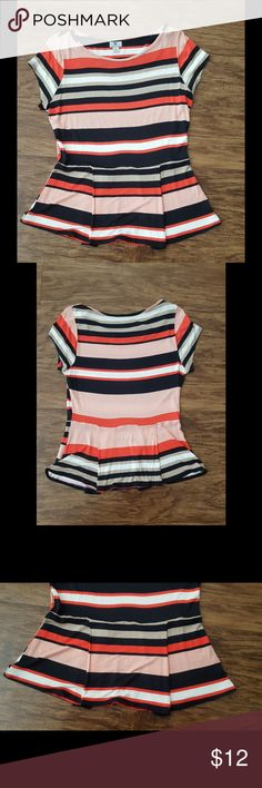🆕 Cute striped peplum top Cute and casual peplum top by Worthington! Stripes in light and dark pink, black, white, and tan. Semi-flowy sleeves. 100% rayon. No trades. Worthington Tops Blouses