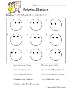Fun And Engaging Worksheets resources For Your Classroom Listening Activities For Kids, Drawing Activities, Therapy Activities, Work Activities, Therapy Ideas, Listening And Following Directions, Following Directions Activities, Have Fun Teaching, Teaching Kids