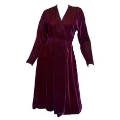 Halston 1970's Maroon Burgundy Velvet Wrap Dress | From a collection of rare vintage evening dresses and gowns at https://www.1stdibs.com/fashion/clothing/evening-dresses/