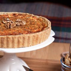 Sage and onion quiche with a walnut pastry.