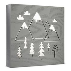 Let your adventure-themed baby nursery come to life with the Light Gray Mountains LED Light Box from Cloud Island™. With landscape scenery cut outs like mountains, trees and clouds, your little explorer will be ready for all of their trips outdoors. The neutral grays and forest touches will fit right in with your baby's wooden wonderland.