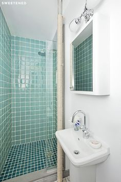 Washington Heights Bathroom with wall-mount Duravit Starck sink, wall-mounted medicine cabinet from Signature Hardware, and shower tiles from Fire Clay Tile.