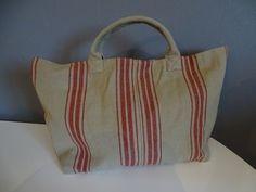sac tissu façon toile de matelas à rayures rouge création artisanale sac à main sac cabas : Sacs à main par lescreationsdetalia