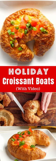 Holiday Croissant Bo Holiday Croissant Boats are a fun and easy breakfast or brunch recipe that everyone will love featuring fluffy omelet with ham and cheese baked inside of a flaky croissant Yummy Egg Recipes, Brunch Recipes, Cooking Recipes, Yummy Food, Breakfast Dishes, Breakfast Recipes, Breakfast Ideas, Wassail Recipe, Christmas Party Food
