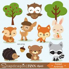 Forest Animals, Woodland Animals, Animals For Kids, Baby Animals, Bebe Love, Baby Clip Art, Woodland Party, Woodland Creatures, Cute Images