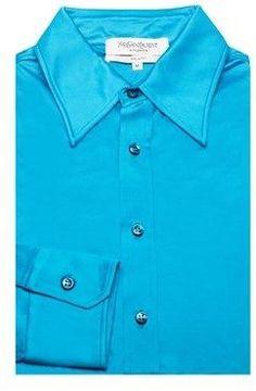 Saint Laurent Men's Soft Viscose Point Collar Dress Shirt Blue.