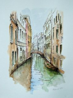 Discover recipes, home ideas, style inspiration and other ideas to try. Pen And Watercolor, Watercolor Illustration, Watercolor Paintings, Watercolor Landscape Tutorial, Venice Painting, Italy Painting, Venice Map, Venice City, Carnival Venice