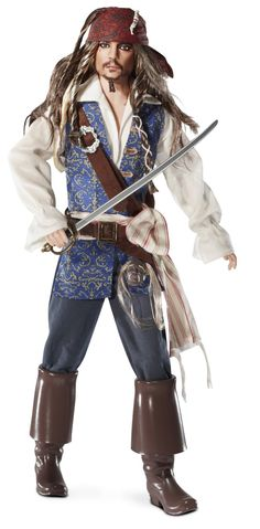 AmazonSmile: Barbie Collector Pirates of The Caribbean: On Stranger Tides Captain Jack Sparrow Doll: Toys & Games