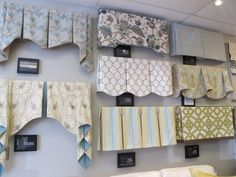 A variety of window treatment valances & cornice . - CLICK THE PIN for Lots of Kitchen Window Treatment Ideas. Valences For Windows, Window Cornices, Valance Window Treatments, Custom Window Treatments, Window Coverings, Windows And Doors, Ideas For Window Treatments, Bay Windows, Arched Windows