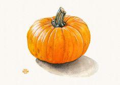 Pumpkin Still Life Art Print of Watercolor by SaylorWolfWorks, $4.75