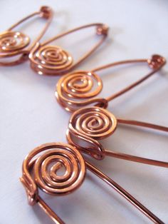 Heavy Gauge Copper Swirl Safety Pins for loose knits