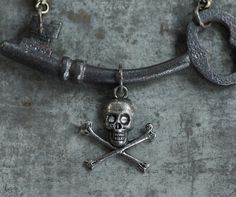 Say Cheese - Bent Skeleton Key Necklace with Skull and Crossbones by Prairieoats Skeleton Key Necklace, Pirate Halloween, Skull And Crossbones, Pirates, Cheese, Personalized Items, Unique Jewelry, Handmade Gifts, Silver
