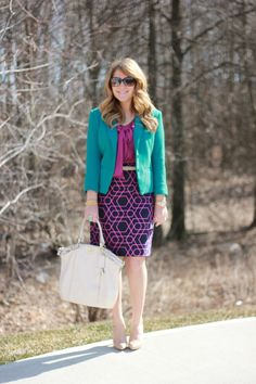 Geometric skirt. Fuchsia and teal for the office