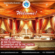 """""""You have an idea, we have the experience, the connections and the time-together,we'll make the perfect team""""  #speisialtaevents # events #decor #decoration #weddingplanner #evenorganizer Visit Our Website: www.speisialtaevents.com For Booking Call:+91-9350655999, +91-9350455999"""