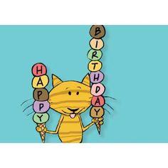 Cat Ice Cream Cone Birthday Card