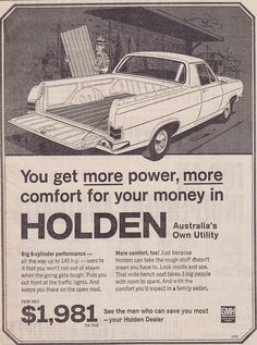 If Holden's were still this price, I'd have a dozen! 1967 HR Holden Ute Ad - (Australia)