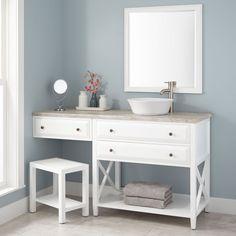 "60"" Glympton Vessel Sink Vanity with Makeup Area - White"
