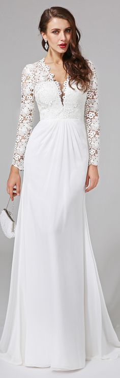 Sheath / Column V Neck Sweep / Brush Train Chiffon Lace Wedding Dress with Lace Button by LAN TING BRIDE®