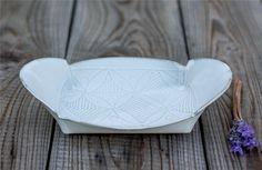 White Ceramic Tray, White  leaf pattern tray ,   decorative Serving platter