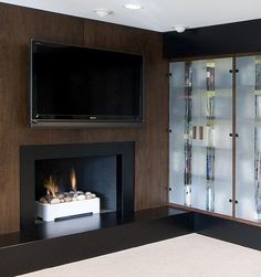 fireplace and wood panels