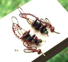 Unakite Stones Polymer Clay Wire Freehand Wrap Earrings Jeanninehandmade Jewelry #Jeanninehandmade #Wrap