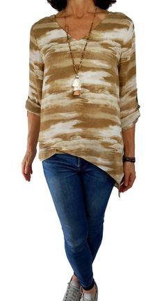 f05ca89aac7 MICHAEL KORS L Large tan beige print artsy boho asymmetric hi-lo hem tunic  top
