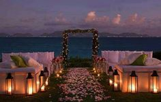 See more about sunset beach weddings, beach weddings and sunset wedding. Wedding Ceremony Ideas, Beach Ceremony, Wedding Sets, Wedding Themes, Wedding Venues, Wedding Decorations, Wedding Reception, Aisle Decorations, Wedding Destinations