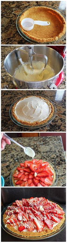 Strawberry White Chocolate Pie Recipe (ensure your graham cracker crumbs are gf)