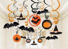 Hanging Halloween Swirls by Shindigz ~ paper and foil ceiling hangers in orange and black | via Amazon