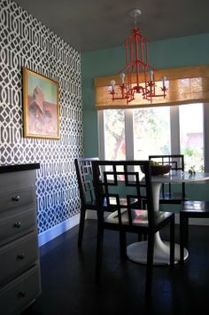 """Imperial Trellis"" by KWID for Schumacher wallpaper, wall color {similar to Benjamin Moore, 'Antigua Sky'}, chairs-West Elm, table-Ikea, Light fixture-Shades of Light"