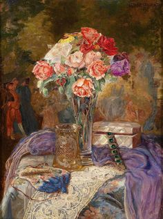 Lea Reinhart (Brno 1877 - 1970 Vienna) was an Austrian painter, known for Miniatures and still life painting. She presumably studied at the Vienna Art School for Women under guidance of the Viennese painters Robert Scheffer and Adalbert Franz Seligman. Her miniatures and still life paintings enjoy great popularity.