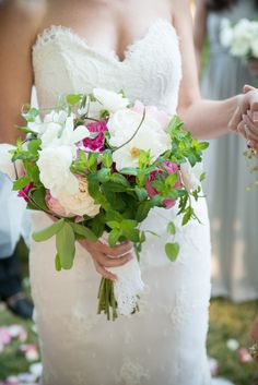 romantic pink and white bouquet featuring peonies, garden roses, sweet pea, astilbe, clematis and mint by Jeff Pennington Flowers