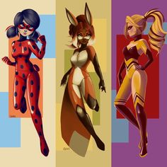 Style posters for Ladybug, Rena Rouge, and Queen Bee (Miraculous LadyBug) Ladybug E Catnoir, Ladybug Und Cat Noir, Ladybug Comics, Lady Bug, Les Miraculous, Film Manga, Miraculous Ladybug Fan Art, Super Cat, Animation