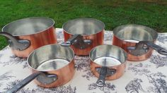 Copper Pans New Tin Five Vintage French 2.2mm Copper Cast Iron Handles 6.8Kilo 15lbs Quality Saucepans 5157 Normandy Kitchen Quality Copper by NormandyKitchen on Etsy