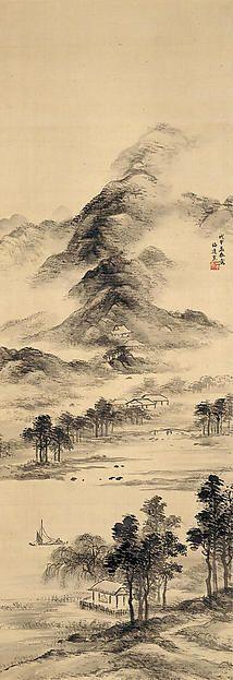 四季山水図 Landscapes of the Four Seasons Artist:Yamamoto Baiitsu (Japanese, 1783–1856) Date:1848 Culture:Japan Medium:Set of four hanging scrolls; ink and color on silk Dimensions:Image (a): 40 3/8 × 13 7/8 in.